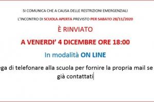 RINVIO OPEN DAYS DI SABATO 28 NOVEMBRE